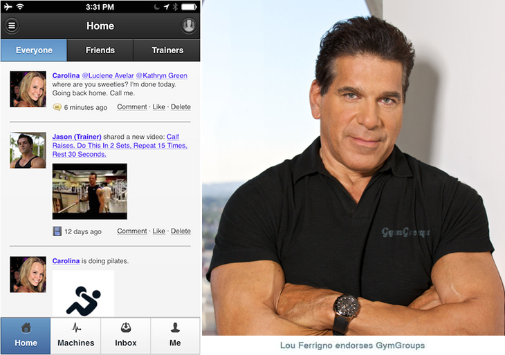 GymGroups - Endorsed by Lou Ferrigno